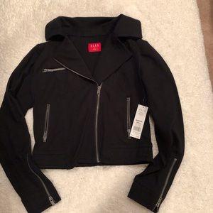 NWT black fabric moto jacket